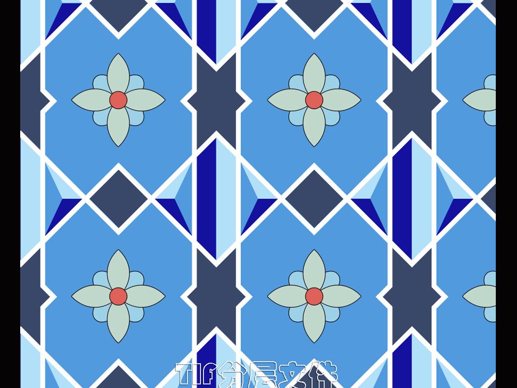 简洁几何地中海风格海蓝色小花砖背景墙图片