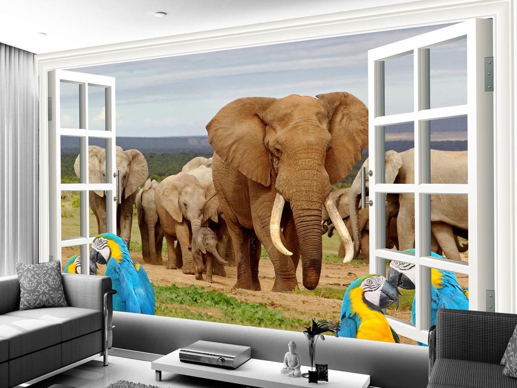 动物世界大象鹦鹉儿童背景墙