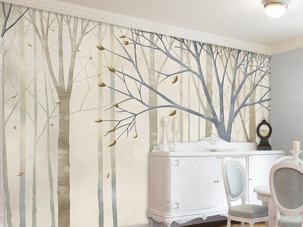 抽象手绘欧式怀旧树林电视背景墙