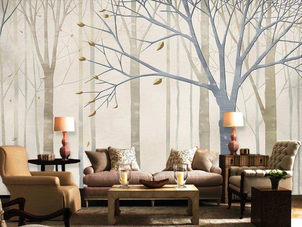 室内单体木纹手绘