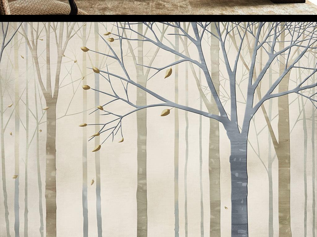 手绘陶瓷3d抽象树抽象驯鹿麋鹿梅花鹿迷幻森林树林树木大树小鸟树叶叶