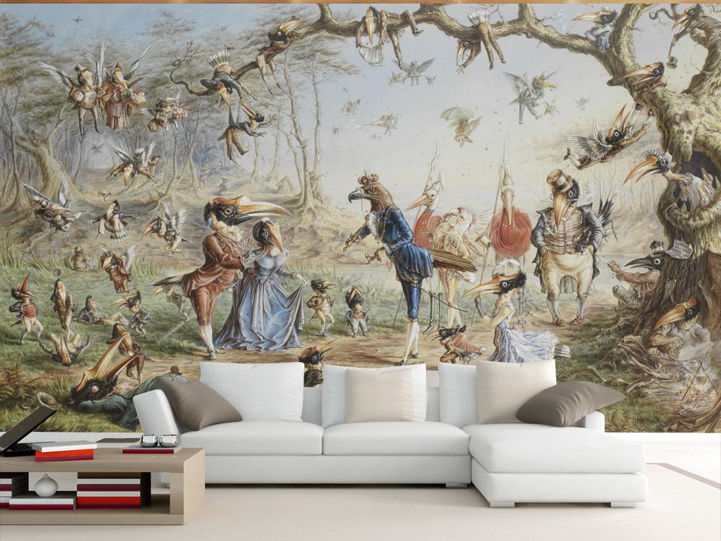 鹤蜗牛鸟19世纪油画沙发背景墙图片客厅沙发背景墙沙