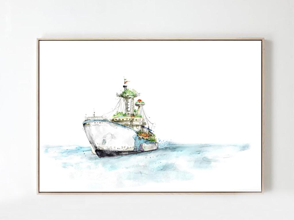 北欧风格现代简约手绘创意小清新卡通船