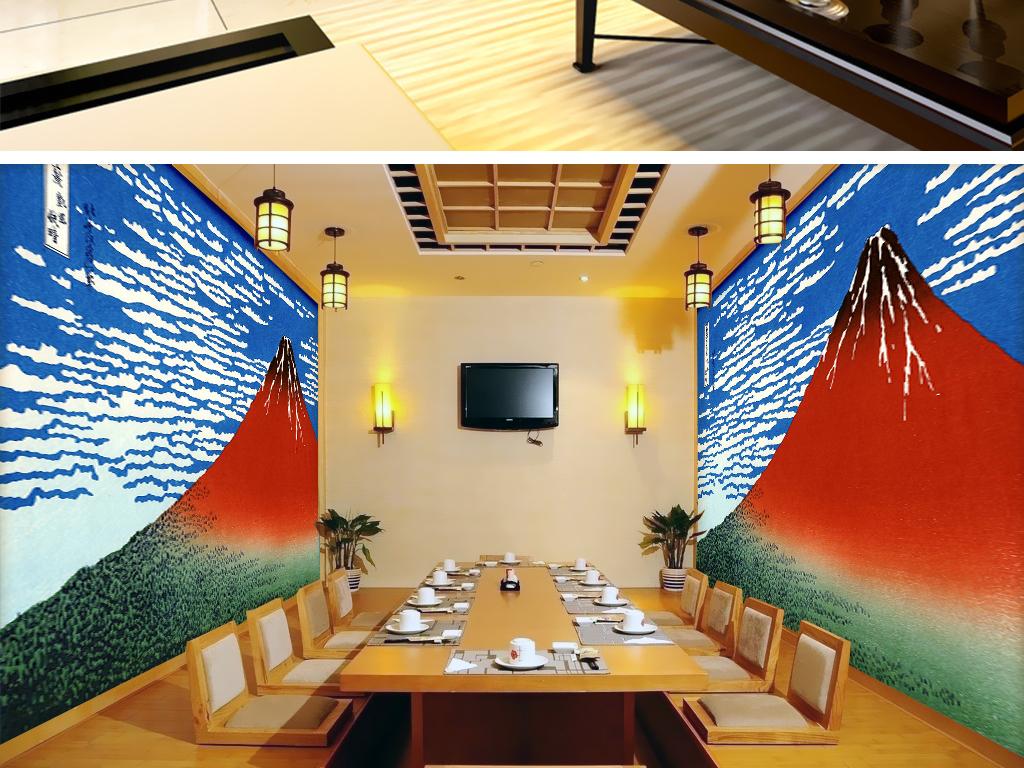 日式富士山火山喷发背景墙