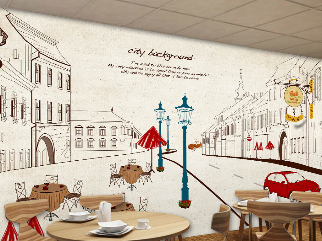 咖啡馆酒吧ktv手绘城市壁画