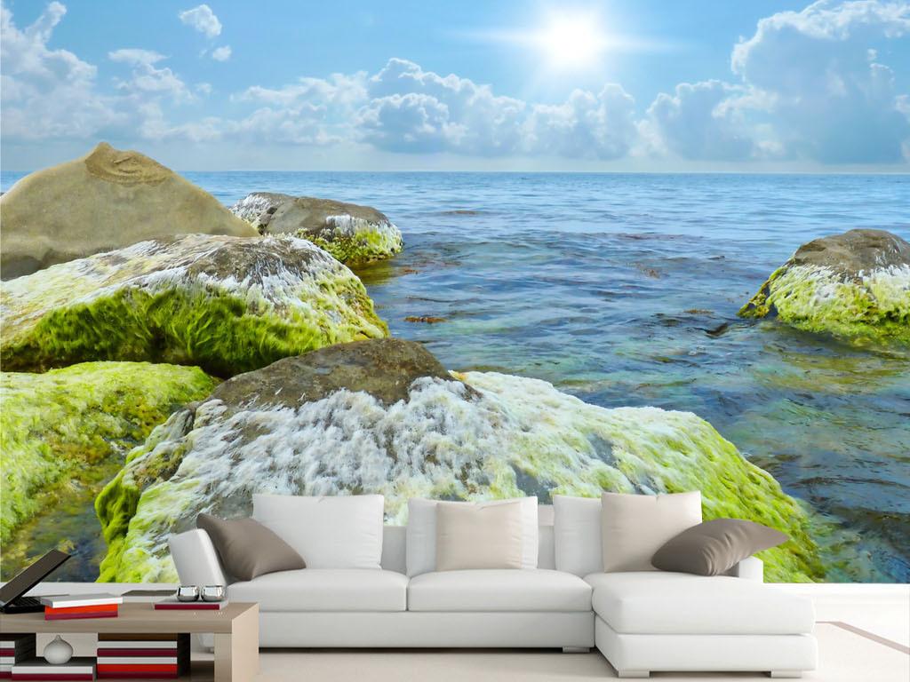 高清蓝天白云海边石头壁画背景墙