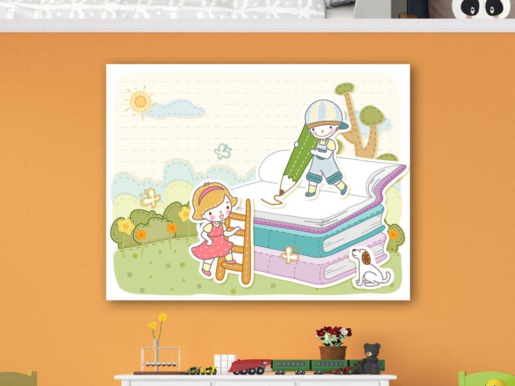 画爬楼梯在书本画画的小孩子高清图片下载 图片编号15023210 装饰