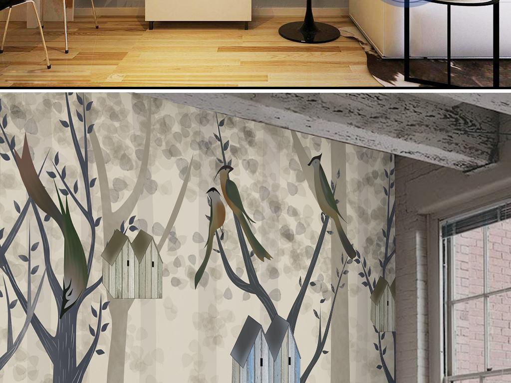 背景墙|装饰画 电视背景墙 手绘电视背景墙 > 抽象树木鸟鸟屋儿童创意