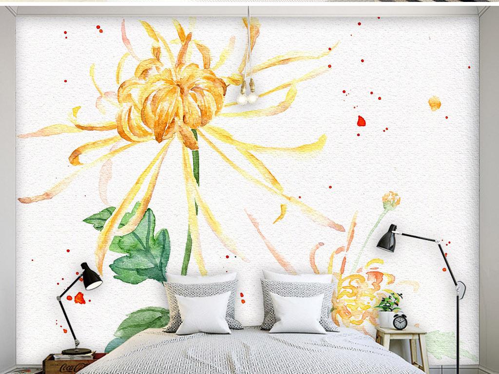 黄菊手绘水彩画现代简约淡雅清新沙发背景墙