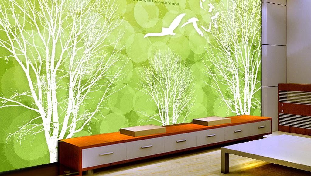 绿色清新手绘电视背景墙高清装饰画