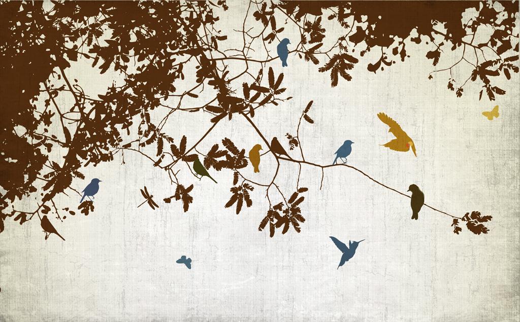 手绘怀旧树枝小鸟背景墙