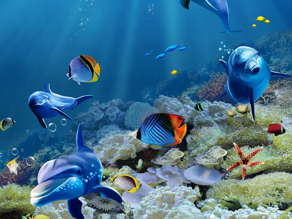 热带鱼海豚海底世界3d立体浴室地板地画
