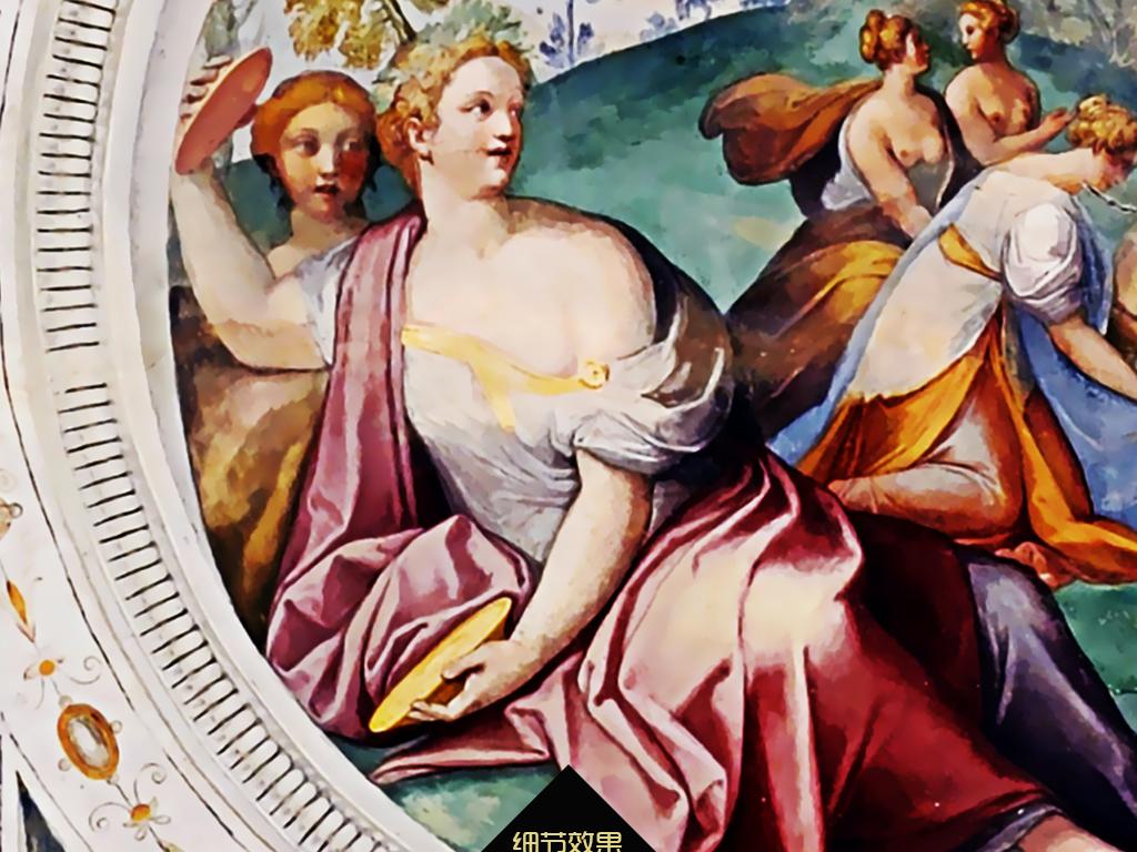 波西米亚风格人物手绘天顶