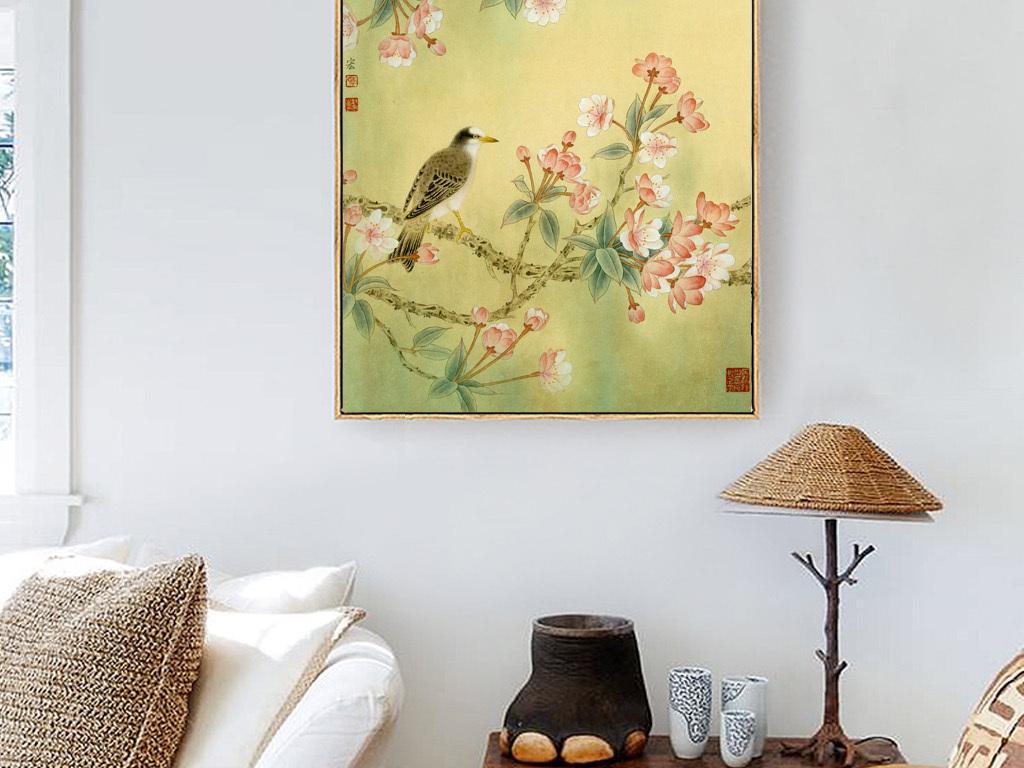 春色海棠花中式手绘花鸟清新古典装饰无框画