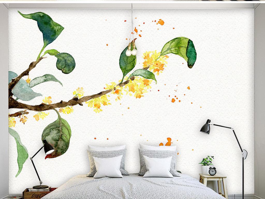 桂花飘香现代水彩画手绘简约淡雅清新背景墙