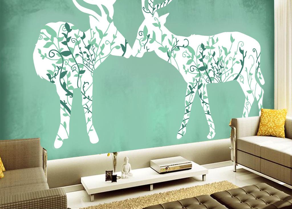 现代简约手绘简欧麋鹿背景墙