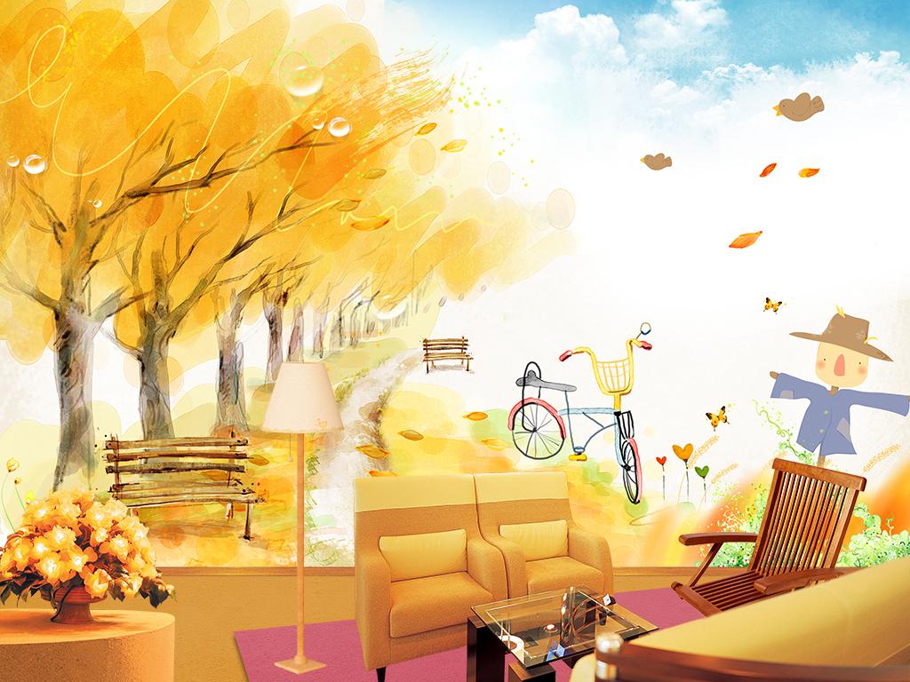 背景墙|装饰画 电视背景墙 手绘电视背景墙 > 秋天风景田园风光客厅
