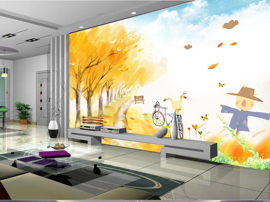 秋天风景田园风光客厅电视背景墙