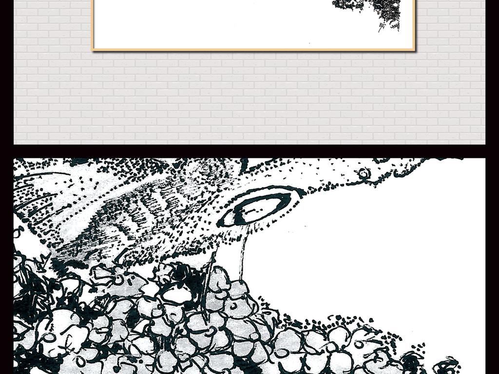 北欧现代简约手绘蝴蝶手绘黑白插画