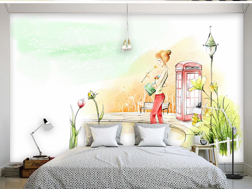 电话亭女子手绘唯美画面清新现代电视背景墙