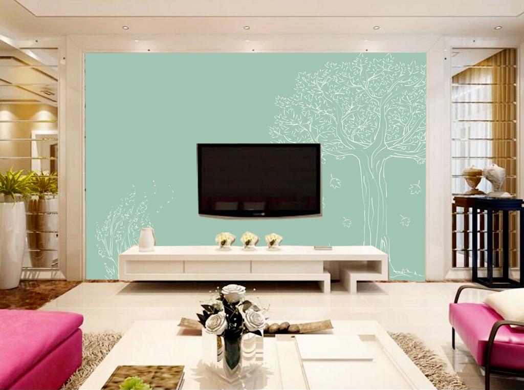 清新小树绿色背景影视墙效果图(图片编号:15039248)