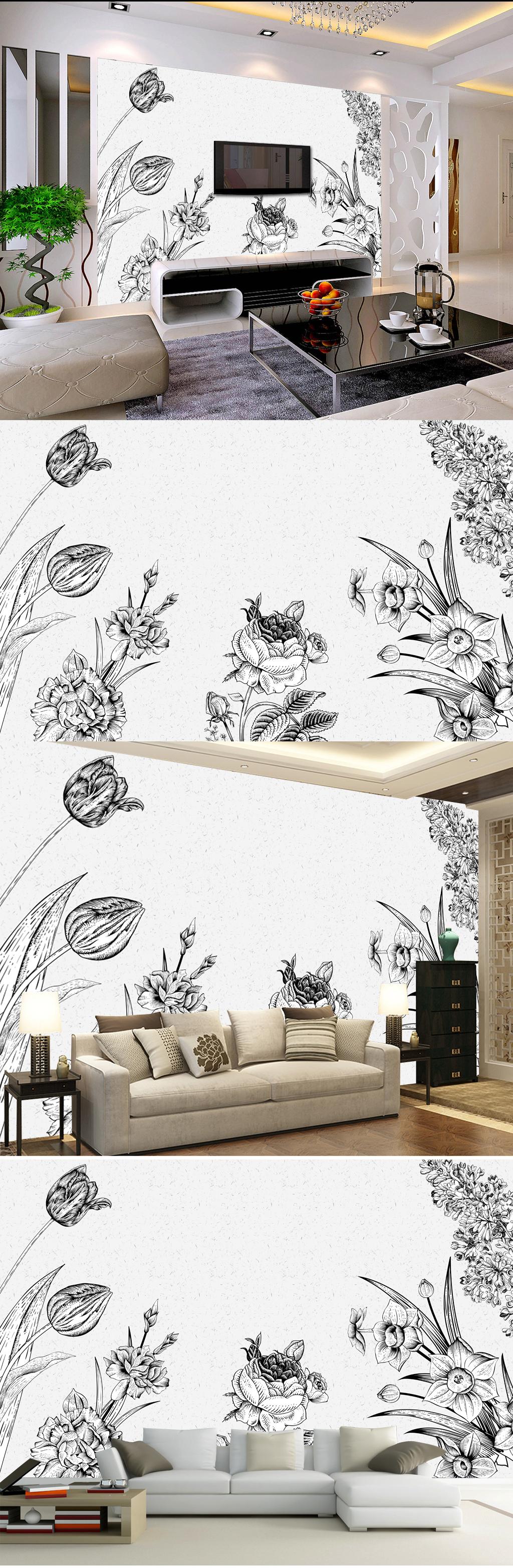 手绘花朵黑白素色手绘壁画
