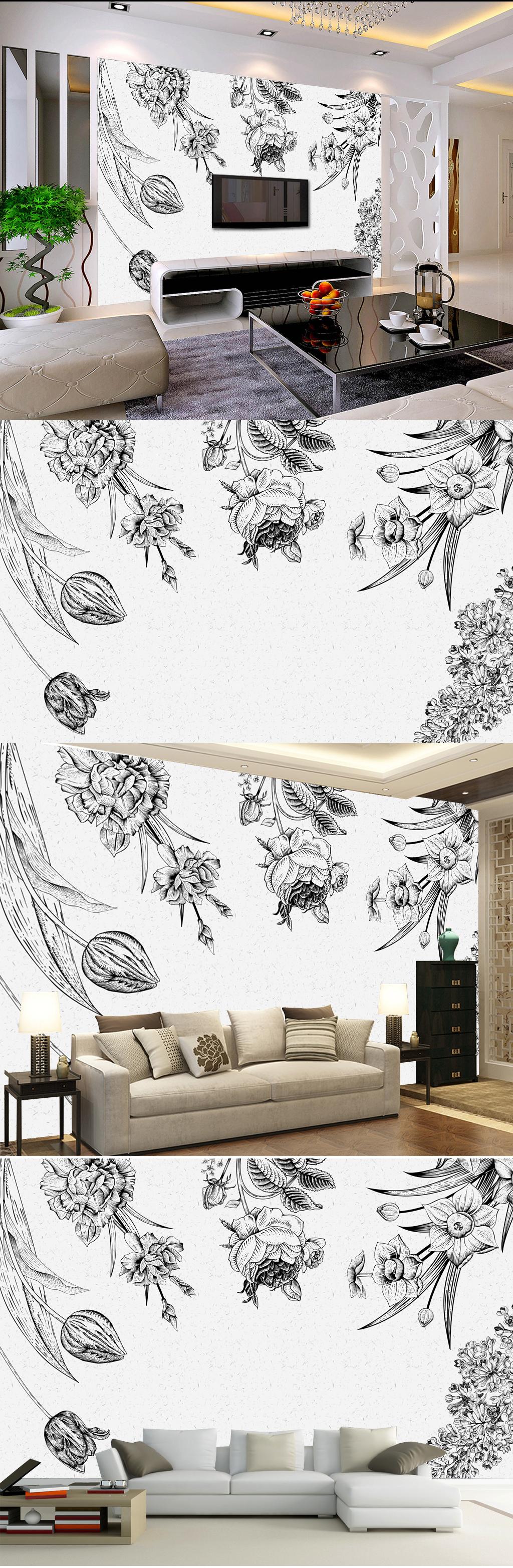 手绘倒立花朵黑白素色手绘壁画