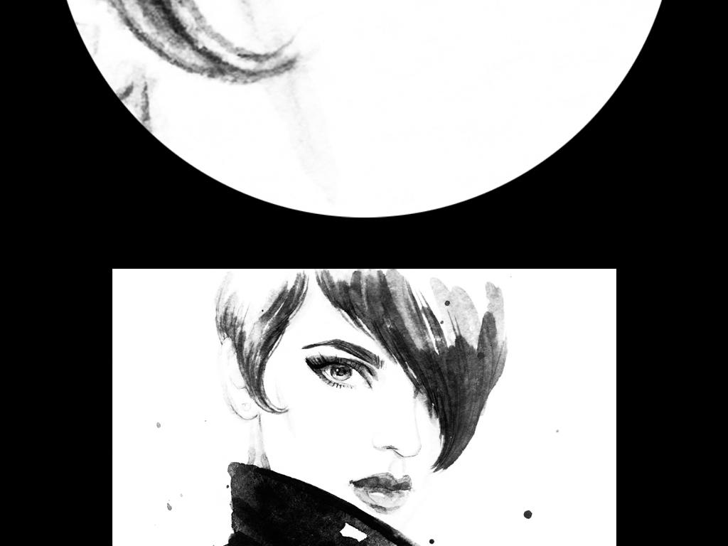 背景墙 装饰画 无框画 人物无框画 > 高清古典水墨美女模特黑白装饰画