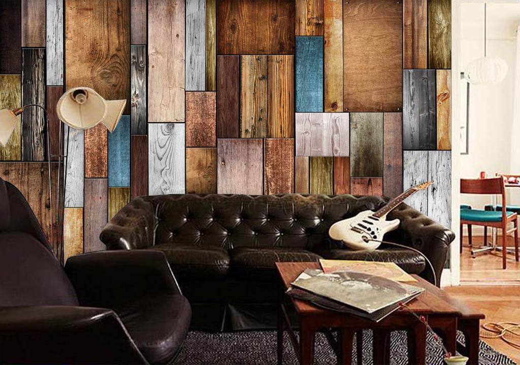 欧美时尚木板电视背景墙