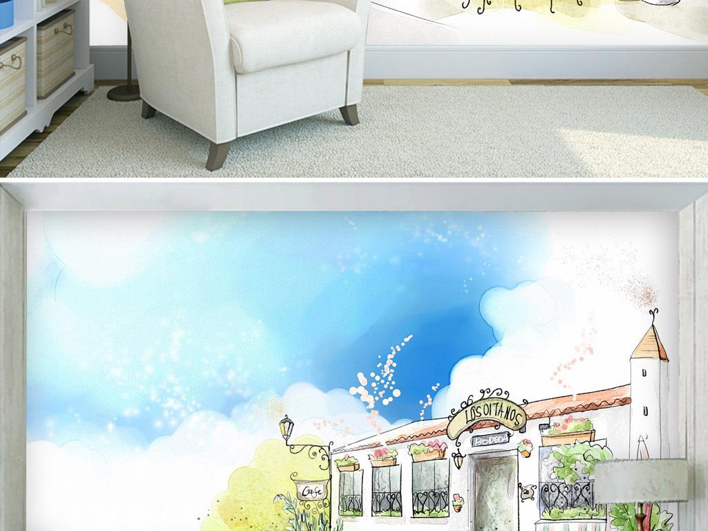 蓝天白云咖啡屋手绘清新简约淡雅客厅背景墙