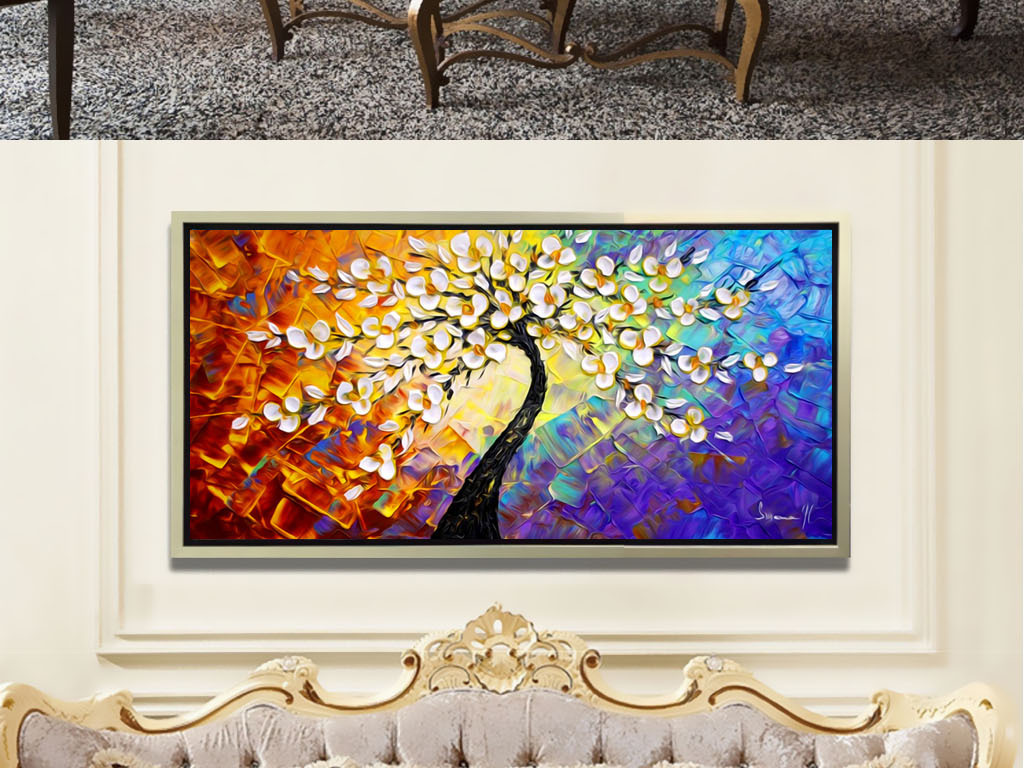 欧式简约现代抽象手绘幸福发财树油画壁画