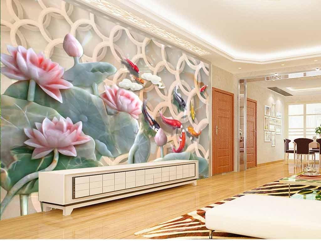 荷花鲤鱼图玉雕背景墙图片