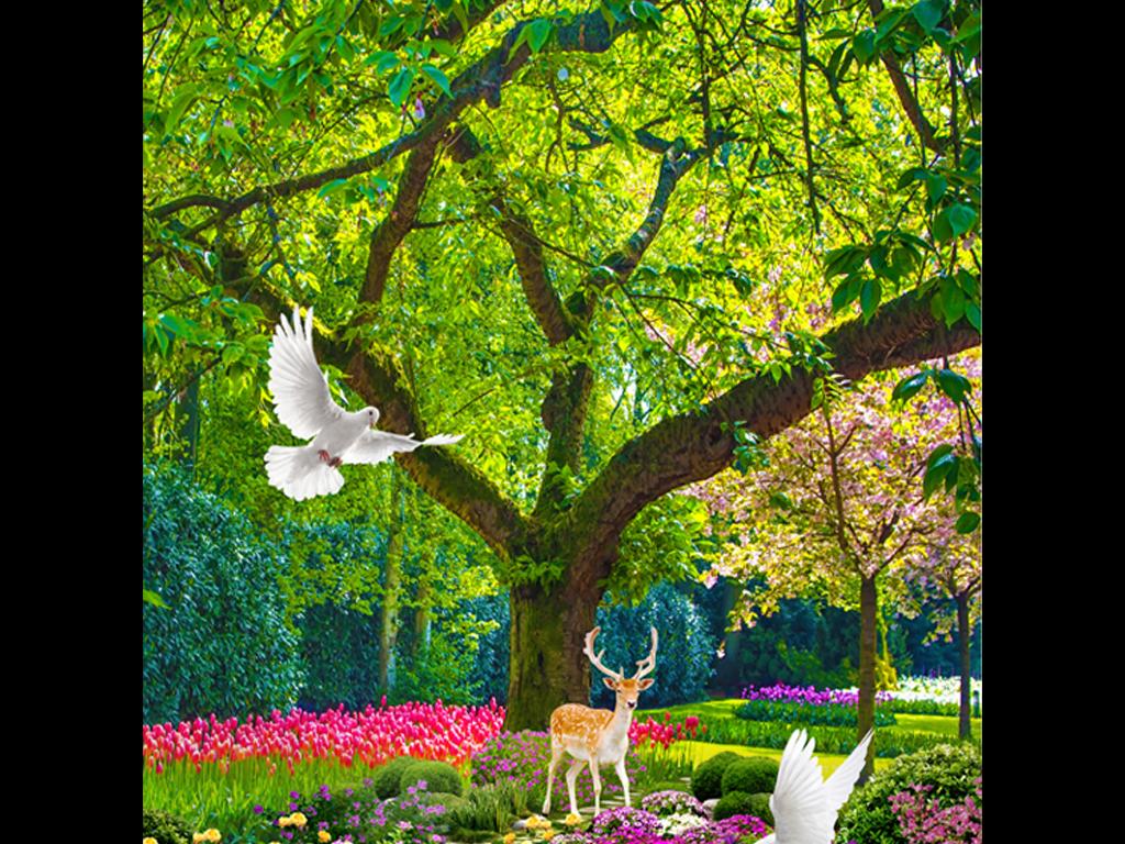 壁画室内装饰图片装饰画3d壁画小径树林鸽子小道小路林间小路秋天