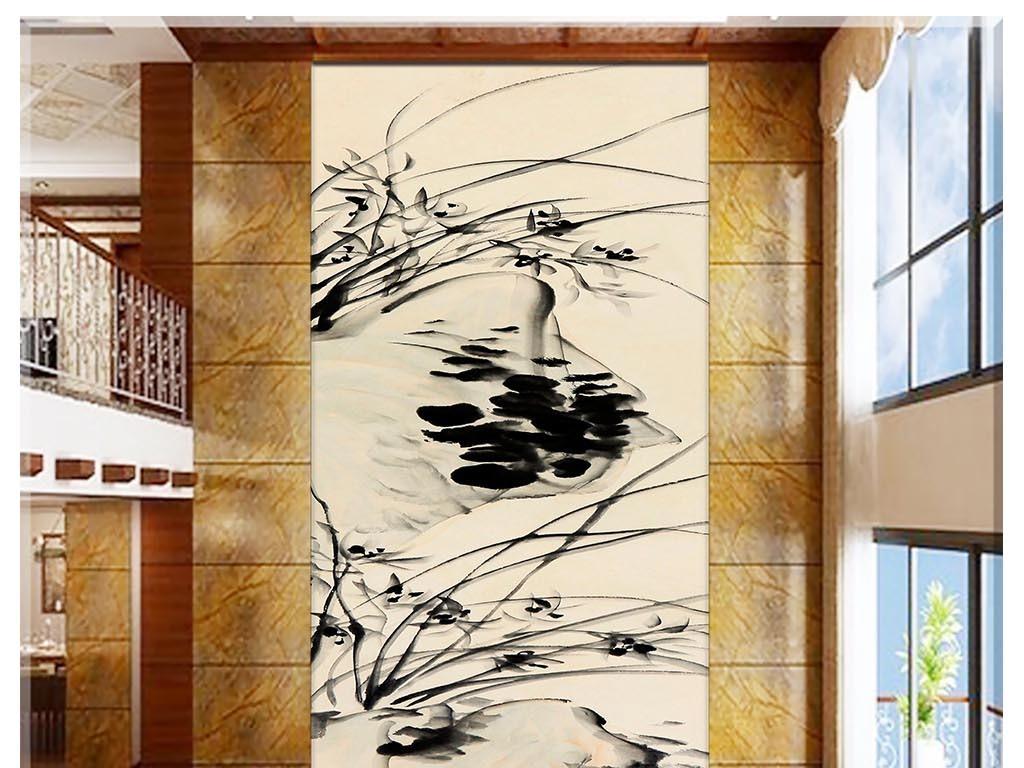 水墨石头兰花古典玄关背景墙