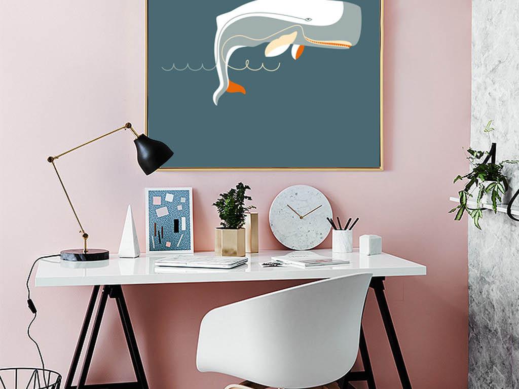 北欧风格简约手绘鲸鱼装饰画