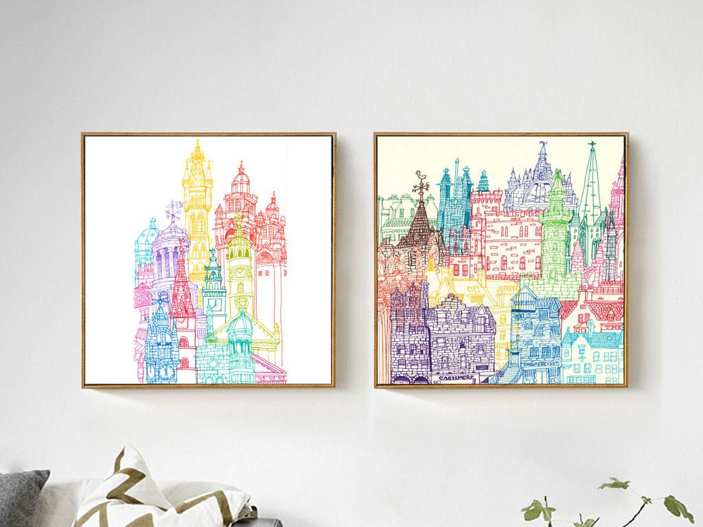 北欧简约美克美家手绘抽象房子建筑装饰画