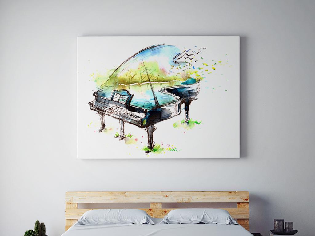 钢琴城市写意画手绘pop手绘pop字手绘海报手绘效果图