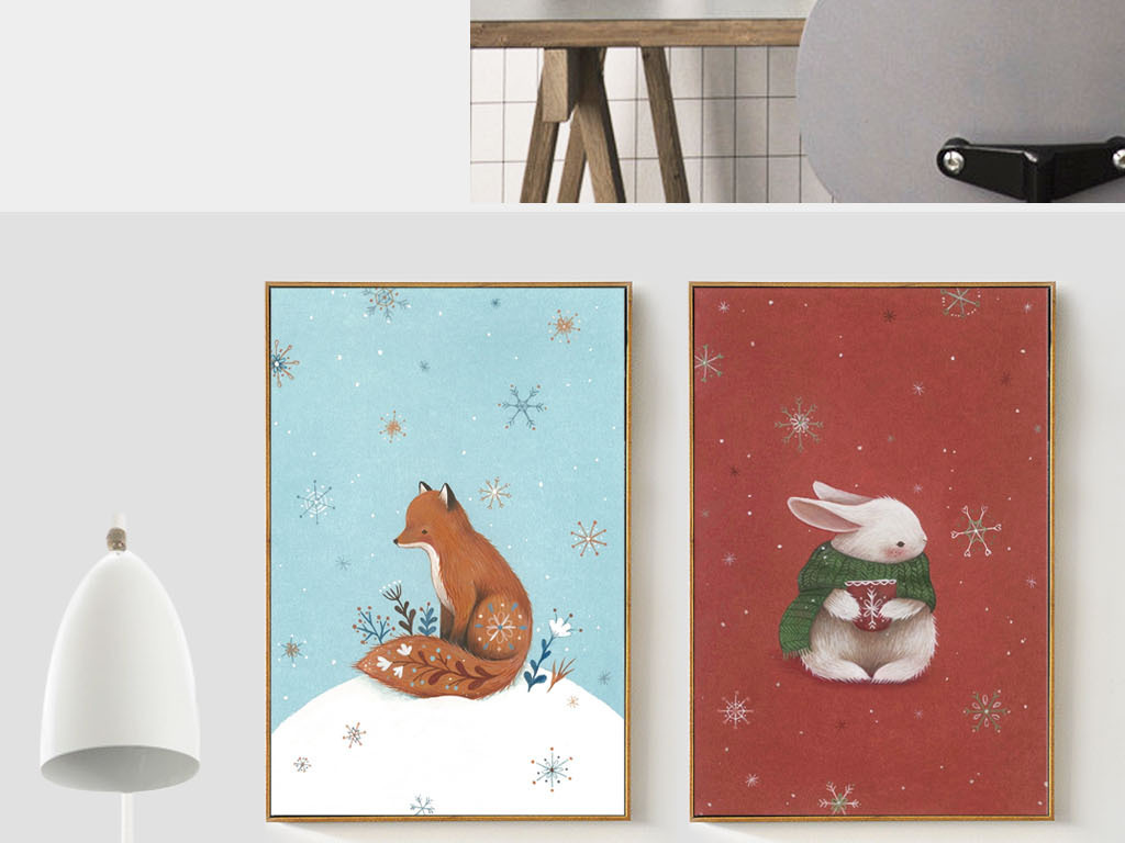 背景墙|装饰画 无框画 动物图案无框画 > 北欧风格简约手绘雪地狐狸