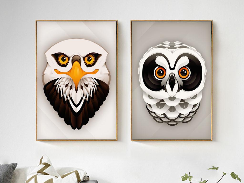 我图网提供精品流行北欧风格简约手绘创意动物鹰装饰画素材下载,作品图片