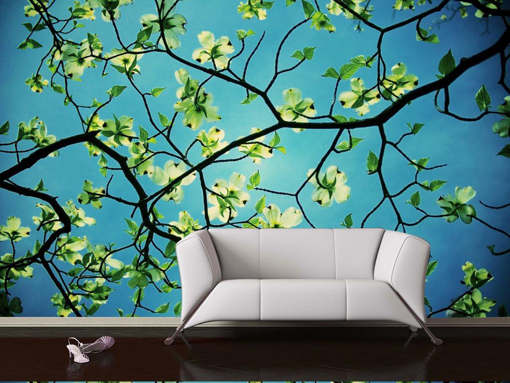 手绘抽象树木欧式现代天花板客厅移门效果图客厅效果图客厅电视背景墙
