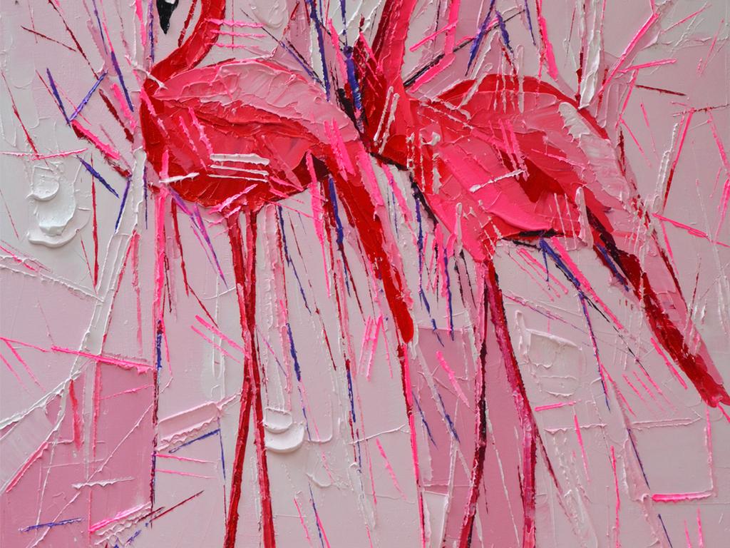 纯手绘立体油画火烈鸟艺术玄关