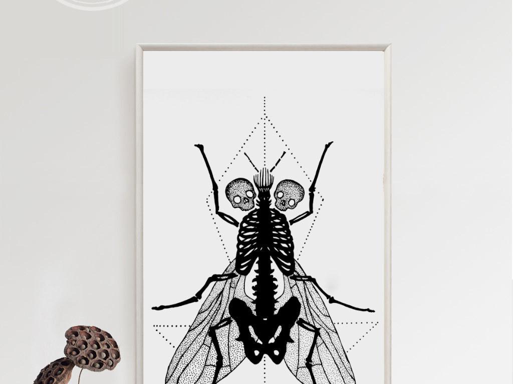 tif不分层)欧式手绘黑白猫头鹰几何图案苍蝇飞鸟玫瑰花简约无框画北欧图片
