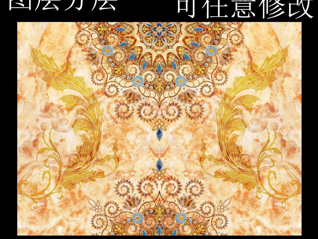 欧式复古圆形花纹大理石背景墙壁画图片