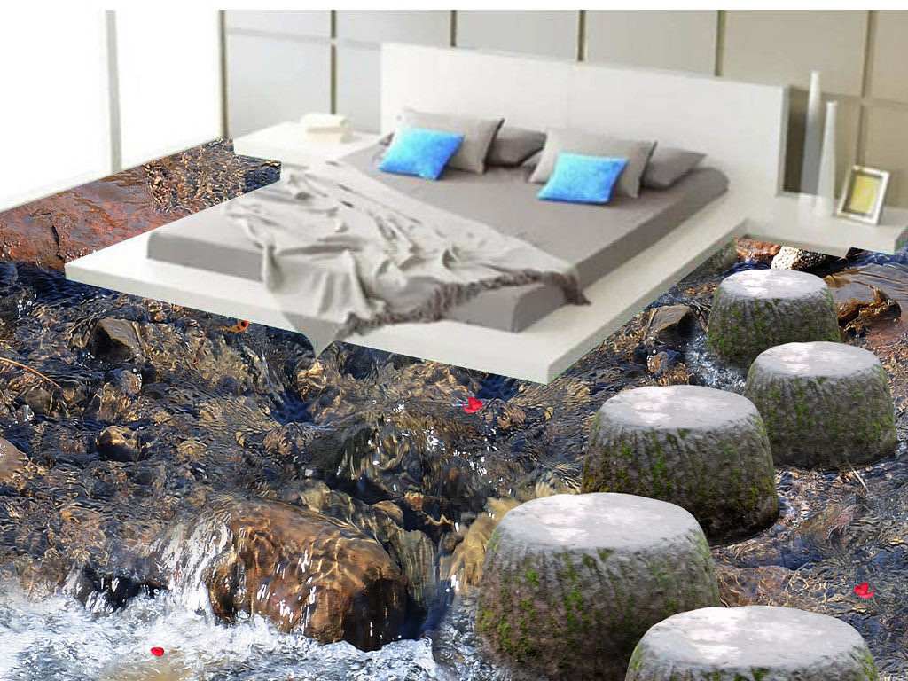 地板客厅3d地板效果图石墩                                  鹅卵石