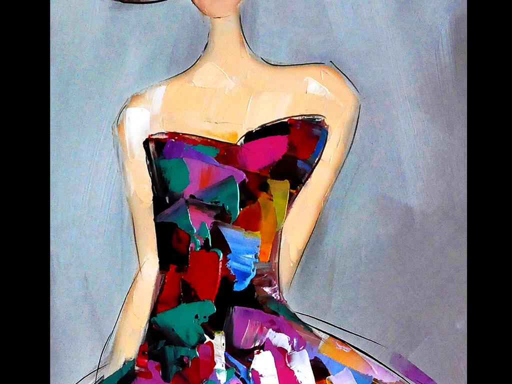 长裙时尚女抽象油画玄关背景墙
