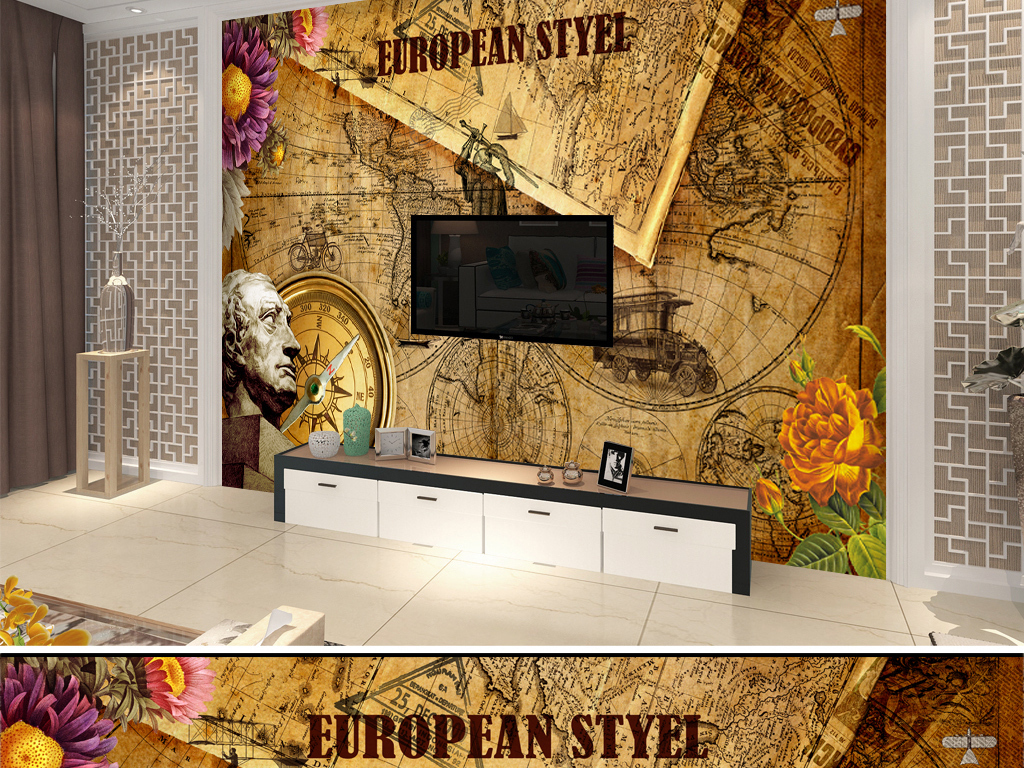 欧洲复古怀旧世界地图背景墙