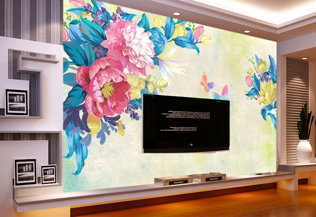背景墙 电视背景墙 手绘电视背景墙 > 彩蝶手绘背景壁画  素材图片