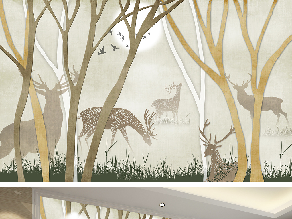 手绘麋鹿室内设计室内效果图室内装饰室内装修室内装饰画3d室内效果图