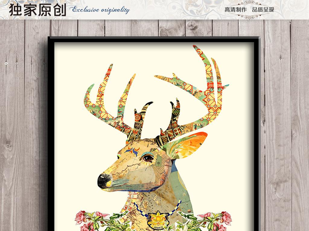 花卉鹿头装饰画