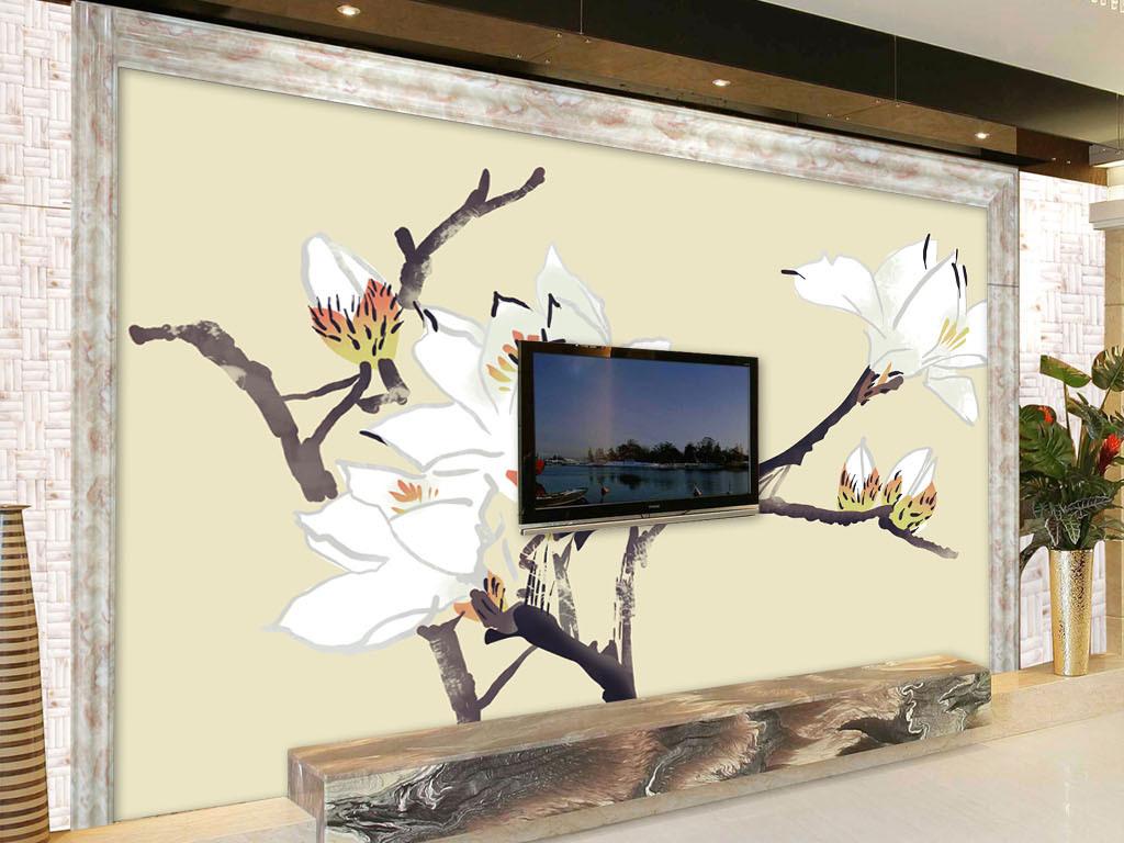 中式手绘玉兰花